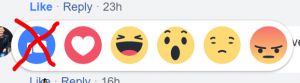 Do not use the Facebook like button, but the other emojis